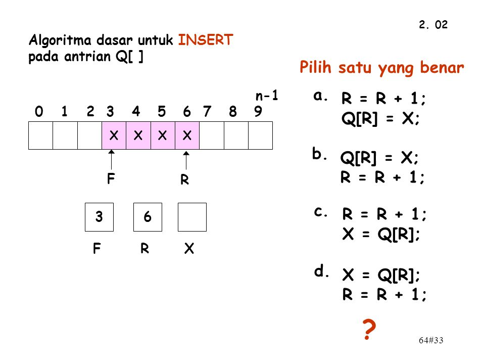 Pilih satu yang benar a. R = R + 1; Q[R] = X; b. Q[R] = X;